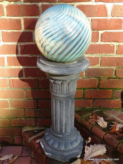 (BACKYARD) PEDESTAL AND BALL; COMPOSITION COLUMNED PEDESTAL WITH ATTACHED SWIRL PATTERN YARD GAZING
