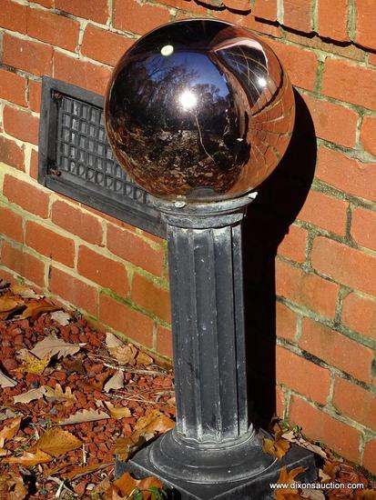 (BACKYD) PEDESTAL AND BALL; ALUMINUM COLUMNED PEDESTAL WITH ATTACHED MIRRORED YARD GAZING BALL-32 IN