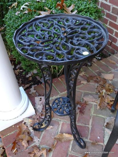 (FRONT-OUT) PLANT STAND; ONE OF A PAIR OF ORNATE METAL PLANT STANDS- 14 IN X 28 IN