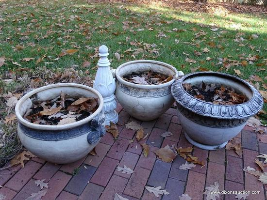 (FRONT OUT) PLANTERS- 3 DECORATIVE COMPOSITION PLANTERS- 2 MATCH- 21 IN DIA. X 16 IN AND A