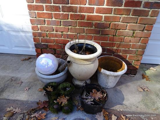 (GARAGE-OUT) MISC.. LOT; LOT INCLUDES- 3 COMPOSITION PLANTERS-11 IN, 13 IN AND 21 IN H, PR MOSS