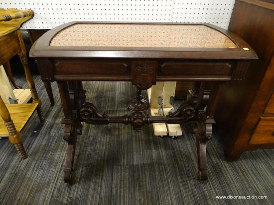 (R1) ANTIQUE WALNUT VICTORIAN MARBLE TOP CENTER TABLE WITH DRAWER; HIGHLY CARVED LEGS AND STRETCHER