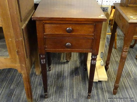 (R1) CONTEMPORARY NIGHTSTAND; MAHOGANY, 1940'S, 2-DRAWER NIGHTSTAND WITH REEDED LEGS. MEASURES 18 IN