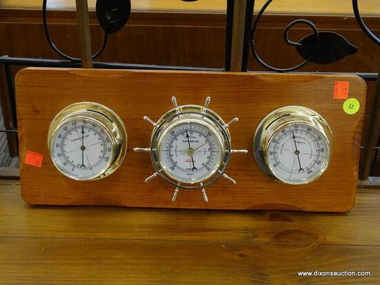 (R1) HANGING WEATHER STATION WITH BAROMETER, THERMOMETER, AND HYGROMETER; HAS SHIP WHEEL SHAPED