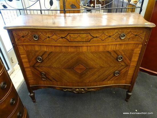 (WINDOW) FRENCH STYLE COMMODE CHEST; BEAUTIFUL CHEST OF DRAWERS WITH A SMALLER TOP DRAWER AND A 2