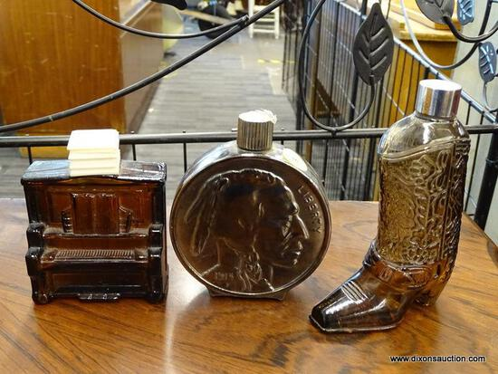 (R1) LOT OF AVON; THREE PIECE LOT TO INCLUDE A COWBOY BOOT, A BUFFALO NICKEL, AND A PIANO.
