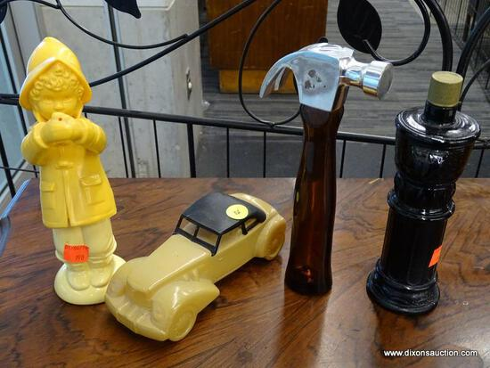 (R1) LOT OF AVON; FOUR PIECE LOT TO INCLUDE AN OLD TIMEY CAR, A HAMMER, A KID AND RAINCOAT, AND WIND