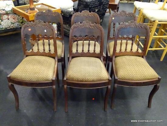 (R2) WALNUT SIDE CHAIRS; SET OF 6 EMPIRE STYLE SIDE CHAIRS WITH SPINDLE BACK AND LEAF CARVED