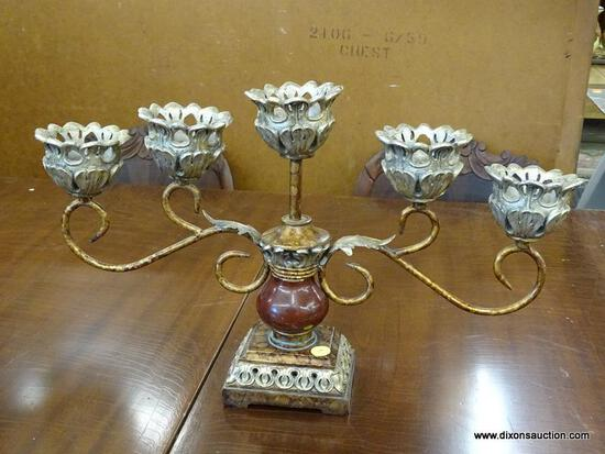 (R2) COMPOSITE CANDELABRA; HAS ORNATE DETAILING, WITH FIVE SLOTS FOR CANDLESTICKS.