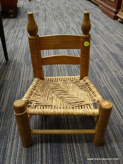 (R1) STRAW CHILD'S CHAIR; SLAT BACK CHILD'S CHAIR WITH TURNED DETAILING.