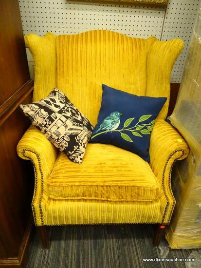 (R1) WING BACK ARM CHAIR; MULTI-TONED YELLOW FABRIC WINGBACK ARMCHAIR WITH NAILHEAD DETAILING. SITS