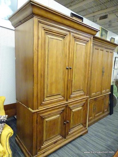 (R1) ENTERTAINMENT ARMOIRE; WOOD, 2 SLIDE IN DOOR ENTERTAINMENT ARMOIRE THAT OPENS TO REVEAL A TOP