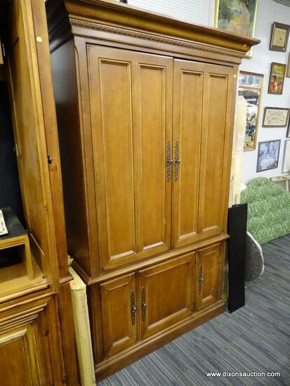(R1) ENTERTAINMENT ARMOIRE; WOODEN, 2 SLID IN DOOR ENTERTAINMENT ARMOIRE THAT OPENS TO REVEAL 2 TOP