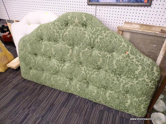 (R1) QUEEN SIZE HEADBOARD; 2-TONED, GREEN FLORAL UPHOLSTERED, BUTTON TUFTED, QUEEN SIZE HEADBOARD.