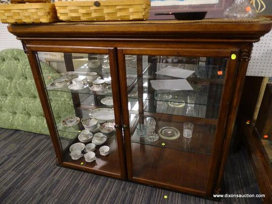 CHINA CABINET TOP; WOODEN, CHINA CABINET TOP PIECE WITH 2 BEVELED GLASS DOORS THAT OPEN TO REVEAL 2