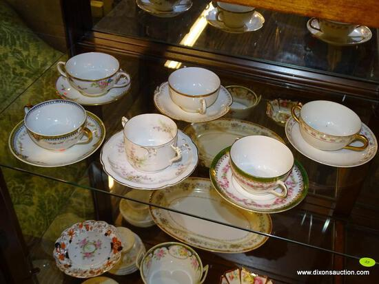 LOT OF ASSORTED CONSOMME BOWLS WITH TRAYS; 12 PIECE LOT TO INCLUDE ASSORTED BOUILLON CUPS AND