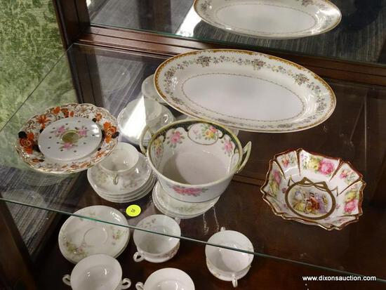 LOT OF ASSORTED DISHWARE; 6 PIECE LOT TO INCLUDE A CANDY BOWL WITH 18TH C. COURTING SCENE AND FLORAL