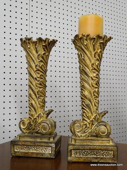 (R1) COMPOSITE CANDLE HOLDERS; SET OF 2 COMPOSITE, LEAF AND SCROLL DETAILED CANDLE HOLDERS. MEASURES