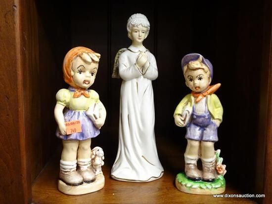 (R1) LOT OF FIGURINES; THREE PIECE LOT TO INCLUDE TWO CERAMIC SCHOOLCHILDREN FIGURINES (ONE OF A BOY