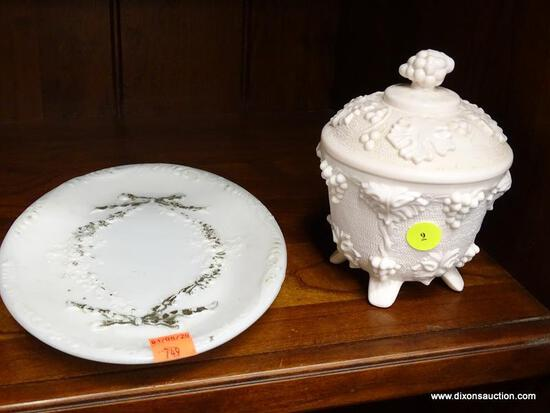 (R1) MILK GLASS CHINA; TWO PIECE LOT TO INCLUDE A MILK GLASS SERVING PLATTER AND LIDDED CANDY BOWL.
