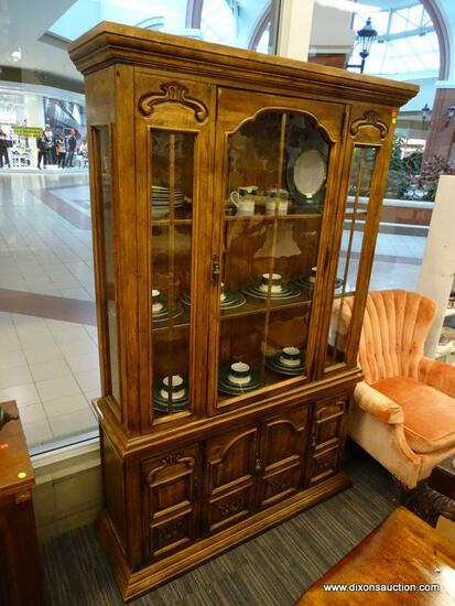 (WINDOW) CHINA CABINET; 2 PC. CHINA CABINET WITH METAL TASSEL PULLS. TOP PIECE HAS A BLOWN GLASS