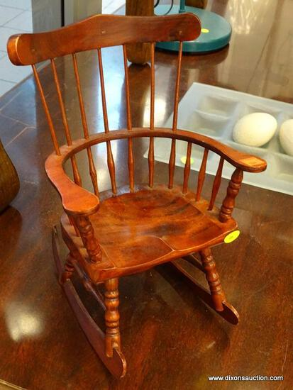 (WINDOW) DOLL ROCKING CHAIR; CHERRY FINISHED WOODEN, WINDSOR STYLE, DOLL'S ROCKING CHAIR.