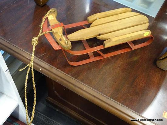 (WINDOW) DECORATIVE SLED; MINIATURE, VINTAGE STYLE SNOW SLED. MEASURES 15 IN X 6 IN X 5 IN.