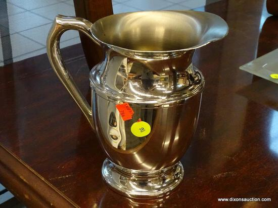 (WINDOW) EMPIRE PEWTER PITCHER; PEWTER BEVERAGE PITCHER WITH HANDLE. HAS A MINOR DENT IN THE SIDE.