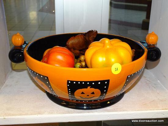 (WINDOW) PUMPKIN THEMED BOWL WITH FAUX AUTUMN VEGETABLES AND DECORATIONS; BOWL HAS A HALLOWEEN
