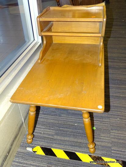 (WINDOW) TIERED END TABLE; WOODEN END TABLE WITH A TOP SHELF AND CUBBY (CUBBY NEEDS SHELF). HAS