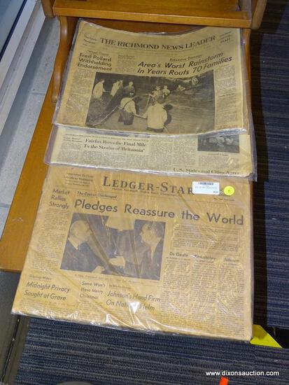 (WINDOW) 1960'S VIRGINIA NEWSPAPERS; 3 PIECE LOT TO INCLUDE A NOV 26TH, 1963 NEWSPAPER, A JULY 20TH,