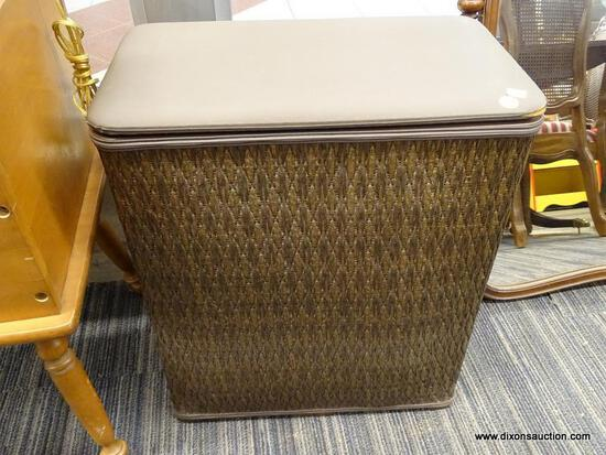 (WINDOW) BURLINGTON LAUNDRY BASKET; BROWN WICKER CLOTHES HAMPER. HAS A RIP ON THE FRONT RIGHT FABRIC