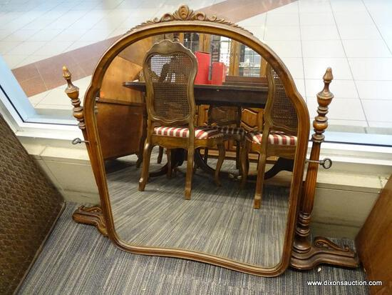 (WINDOW) TILTING VANITY MIRROR; DRESSER MOUNTING, TILTING VANITY MIRROR WITH SCROLL ACCENTS AT THE
