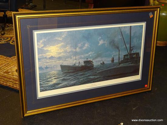 "JOHN MORTON BARBER FRAMED PRINT; ""NIGHT PASSAGE"" BY JOHN MORTON BARBER SHOWS 3 CHESAPEAKE WATERMAN"