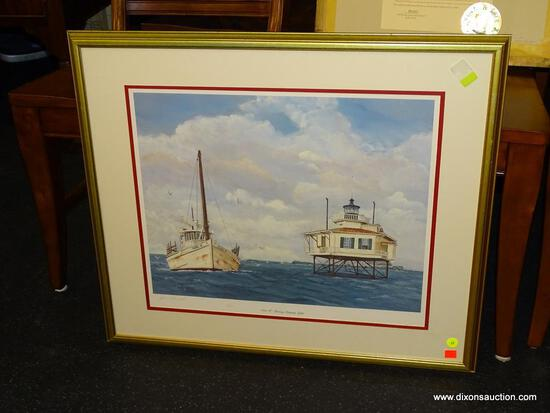 "JOAN MANNELL FRAMED PRINT; ""NORA W. PASSING STINGRAY LIGHT"" BY JOAN MANNELL SHOWS AN OLD, RUSTING"