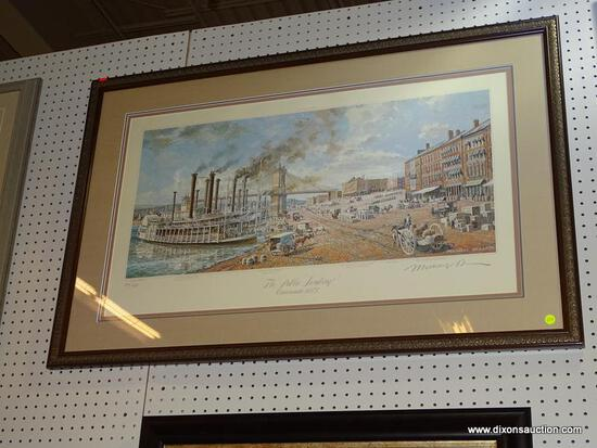 "MICHAEL BLASER FRAMED PRINT; ""THE PUBLIC LANDING CINCINNATI 1875"" FRAMED LITHOGRAPH PRINT. PRINT NO."