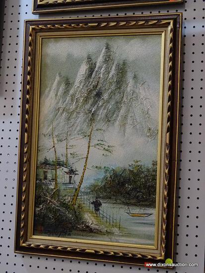 CHEN MAO OIL AND HORSE HAIR PAINTING; TEXTURED LANDSCAPE PRINT OF A RIVER FRONT HOME AT THE BASE OF