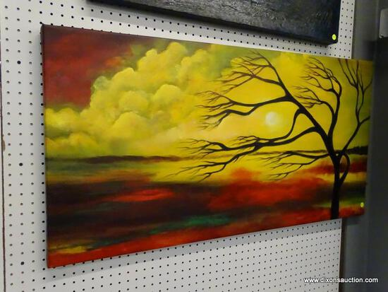 "OIL ON CANVAS; ""PARADISE"" BY MEDICI, SHOWS A SUNSET WITH A LEAFLESS TREE BLOWING IN THE WIND AND"