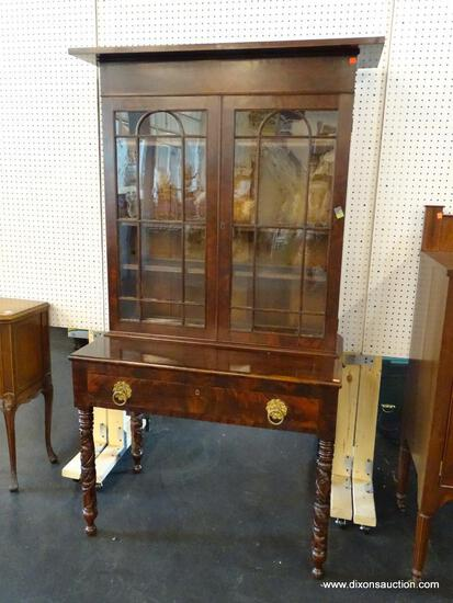 EXQUISITE FLAME MAHOGANY PULL OUT DRAWER WRITING DESK WITH A 24 PANE BOOKCASE TOP. VERY RARE. FROM