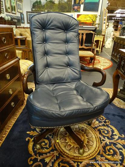 LEATHER EXECUTIVE'S CHAIR; BUTTON TUFTED, BLUE LEATHER, CUSHIONED EXECUTIVE'S OFFICE CHAIR WITH