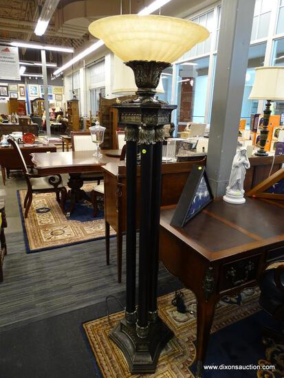 TRI TORCHIERE FLOOR LAMP; BEAUTIFUL FLOOR LAMP WITH A VENETIAN BRONZE FINISH AND LEAF DETAILING AT