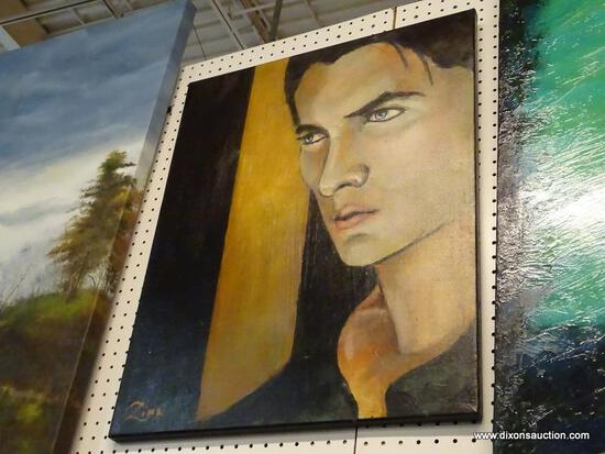 "OIL ON CANVAS; ""THE DREAM HUNTER"" BY KAREN ZIMA, SHOWS A PONDERING MAN'S FACE. COMES WITH ARTIST"