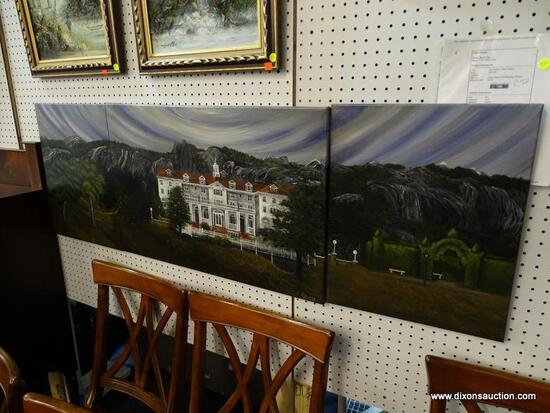 "SHERRY ARTHUR 3 PANEL PAINTING OIL ON CANVAS; ""THE STANLEY HOTEL SHINES"" PAINTING ON CANVAS OF THE"