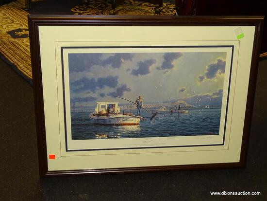 "JOHN MORTON BARBER FRAMED PRINT; ""HARVESTERS"" BY JOHN MORTON BARBER SHOWS OYSTER TONGERS OFF GREY'S"