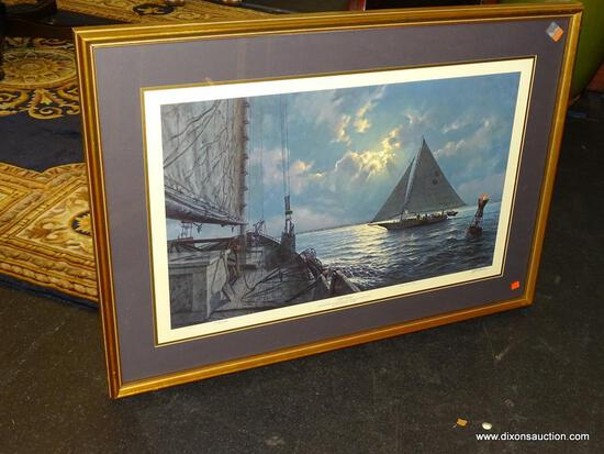 "JOHN MORTON BARBER FRAMED PRINT; ""NIGHT CROSSING"" BY JOHN MORTON BARBER SHOWS CHESAPEAKE BAY"