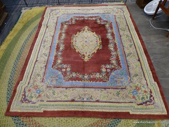 CAPEL INCORPORATED AREA RUG; EDEN STYLE, 525 RED WITH CREAM INDIAN AREA RUG WITH BLUE, GREEN AND