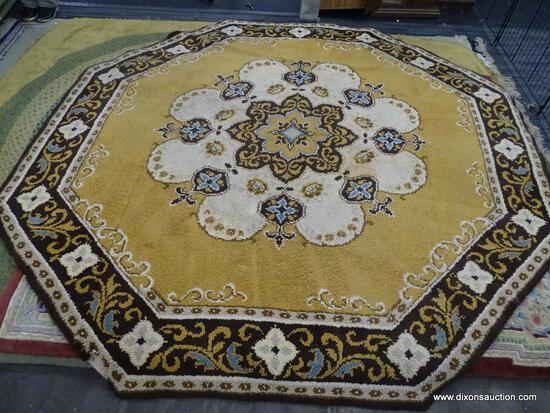OCTAGONAL AREA RUG; BROWN, BEIGE AND YELLOW COLORED 8-SIDED AREA RUG WITH A FLORAL PATTERN AND