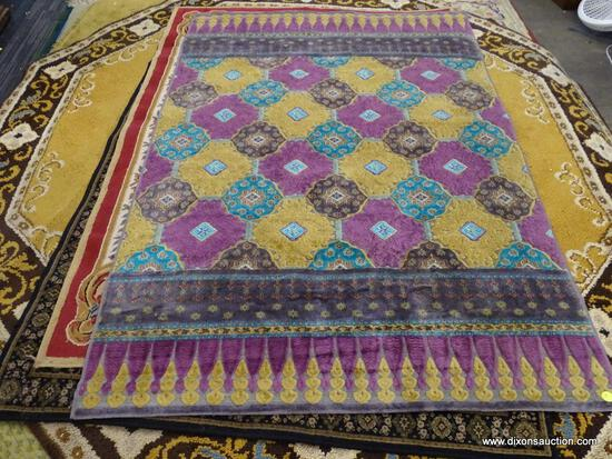 NEW YORK SCHENILLE AREA RUG; MACHINE WOVEN AREA RUG WITH A GEOMETRIC FLORAL PATTERN AND YELLOW,