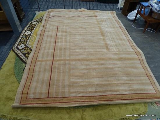 AREA RUG; MODERN, MACHINE WOVEN AREA RUG WITH ORANGE AND CREAM STRIPES AND RED ACCENTS. MEASURES 92