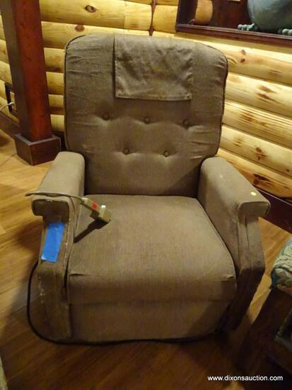 "(BDEN) VINTAGE BROWN UPHOLSTERED ELECTRIC RECLINER; BUTTON TUFTED BACK. MEASURES APPROX. 2' 8"" X 2'"